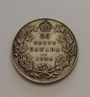 KING  GEORGES V     25 CENTS 1934    BETTER  DATE