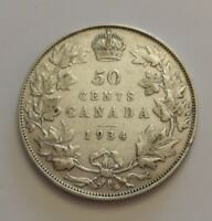 KING GEORGES V     50 CENTS 1934     BETTER DATE