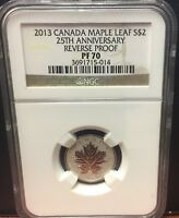 2013 $2 CANADA MAPLE LEAF 25TH ANNIV REVERSE PROOF NGC PF70