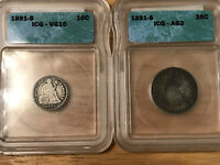 1891 S SEATED LIBERTY DIME AND SEATED LIBERTY QUARTER ICG GRADED VG10 & AG3