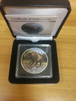 BISON COIN 5 DOLLARS 1 OZ 999 SILVER COLOURED CANADA 2013