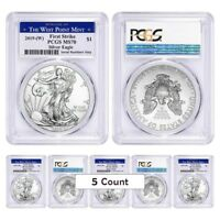 LOT OF 5   2019  W  1 OZ SILVER AMERICAN EAGLE $1 PCGS MS 70