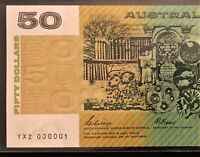 $50 NOTE    NUMBER ONE SERIAL    YXZ 000001    1989 PHILLIPS