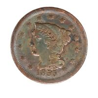 RAW 1855 BRAIDED HAIR 1C  CIRCULATED US MINT COPPER LARGE CENT BIG PENNY COIN