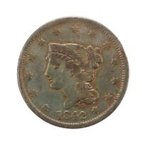 RAW 1842 BRAIDED HAIR 1C CIRCULATED US MINT COPPER LARGE CENT BIG PENNY COIN