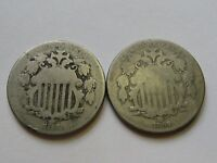 1868 1869 SHIELD 5 CENT NICKELS G  VG  2 COINS     FREE SHIP
