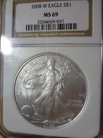 2008 W PCGS SILVER EAGLE MINT STATE 69 FIRST STRIKE