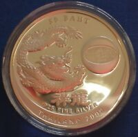THAILAND 50 BAHT SILVER PROOF 2000 MILLENNIUM YEAR OF THE DR