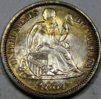 1884 SEATED LIBERTY DIME MONSTER GEM BU WITH BLAZING LUSTER & AMAZING COLOR