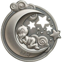LULLABY  DREAMING BOY 1 OZ ANTIQUE FINISH SILVER COIN 5$ COO