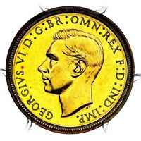 1937 KING GEORGE VI GREAT BRITAIN GOLD PROOF HALF 1/2 SOVERE