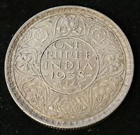 BRITISH INDIA KING GEORGE VI 1938 B  WITH DOT  SILVER RUPEE