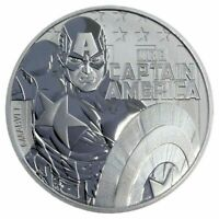 2019 TUVALU MARVEL SERIES CAPTAIN AMERICA 1 OZ SILVER CAPSULED BU COIN IN STOCK