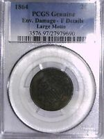 1864 TWO CENT PCGS GENUINE ENV. DAMAGE - F DETAILS LARGE MOTTO 27979690