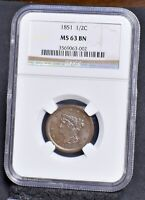 1851 HALF CENT - NGC MINT STATE 63BN 20560
