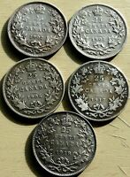 CANADA 5 X 25 CENTS 1902   1902H 1906  1917   1928