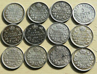 CANADA 12 X 5 CENTS 1872H TO 1941