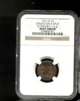 1971 D NGC 1C STRUCK ON A SPLIT PLANCHET  1.6G  MINT ERROR 8