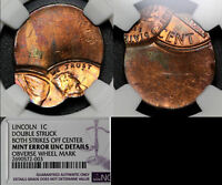 USA ERROR   1C LINCOLN CENT   DOUBLE STRUCK OFF CENTRE   NGC