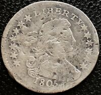 1805 DRAPED BUST HALF DIME 5C   EARLY DATE MANY DETAILS 15506