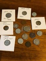 MIXED LOT US COINS CENTS NICKELS DIMES WITH 3CENT SILVER