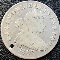 1807 DRAPED BUST HALF DOLLAR 50C  EARLY COIN CIRCULATED 13441