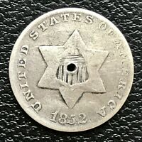 1852 THREE CENT PIECE SILVER TRIME 3C MID GRADE MANY DETAILS 16069