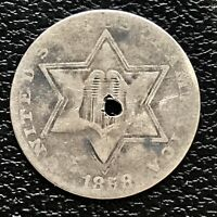 1858 THREE CENT PIECE SILVER TRIME 3C BETTER GRADE HOLED 16073