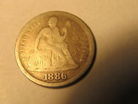 1886 SEATED LIBERTY DIME IN VG  GOOD CONDITION