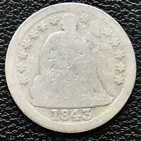 1843 SEATED LIBERTY DIME 10C CIRCULATED 16089