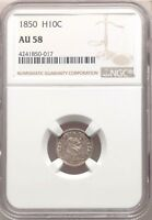 1850 NGC AU58 SEATED LIBERTY SILVER HALF DIME H10 ABOUT UNCIRC TYPE COIN H10C
