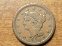 1850 LARGE CENT BRAIDED HAIR COIN- GOOD DETAIL
