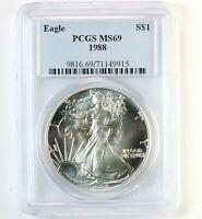 1988 AMERICAN SILVER EAGLE $1 PCGS CERTIFIED MINT STATE 69