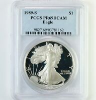 1989-S AMERICAN SILVER EAGLE $1 PCGS CERTIFIED PR69DCAM PROOF ASE 1OZ DCAM COIN