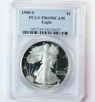 1990-S AMERICAN SILVER EAGLE $1 PCGS CERTIFIED PR69DCAM PROOF ASE 1OZ DCAM COIN