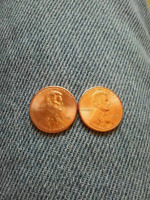 2016 LINCOLN CENT MS CONDITION 2 PENNIES ONE WITH STAPLE ON SIDEBURN