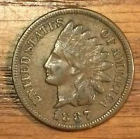 1887 INDIAN HEAD CENT,  VF