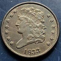 1833 CLASSIC HEAD HALF CENT 1/2 CENT HIGH GRADE AU  9903