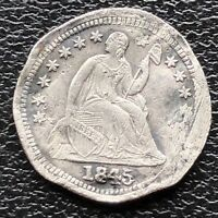 1845 SEATED LIBERTY HALF DIME 5C BETTER GRADE EXTRA FINE  DETAILS  11461