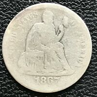 1867 S SEATED LIBERTY DIME 10C  KEY DATE BETTER GRADE 13373