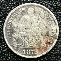 1872 SEATED LIBERTY DIME 10C BETTER GRADE 13383