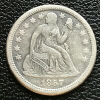 1857 O SEATED LIBERTY DIME 10C BETTER DATE HIGHER GRADE 13362
