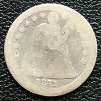 1841 SEATED LIBERTY DIME 10C  DATE LOW GRADE 13348