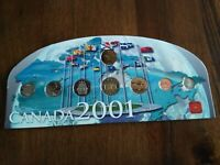 2001 UNC YEAR COIN SET ON CARDBOARD CARD NO RESERVE