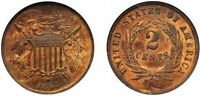 1864  SMALL MOTTO  TWO CENT PIECE   GOOD CONDITION