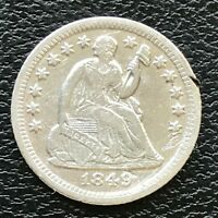 1849 O SEATED LIBERTY HALF DIME 5C  DATE HIGH GRADE AU - UNC 13800