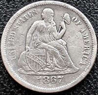 1867 S SEATED LIBERTY DIME 10C  KEY DATE HIGHER GRADE EXTRA FINE   16195