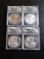 2011-S THRU 2014-S ANACS MS-70 4 COIN SILVER EAGLE SET 'FIRST STRIKE COINS