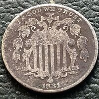 1881 SHIELD NICKEL 5 CENTS 5C CIRCULATED   DATE DATE 13881