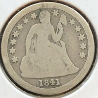 1841 SEATED LIBERTY DIME 10C BETTER GRADE EARLY DATE PHILADELPHIA 12160